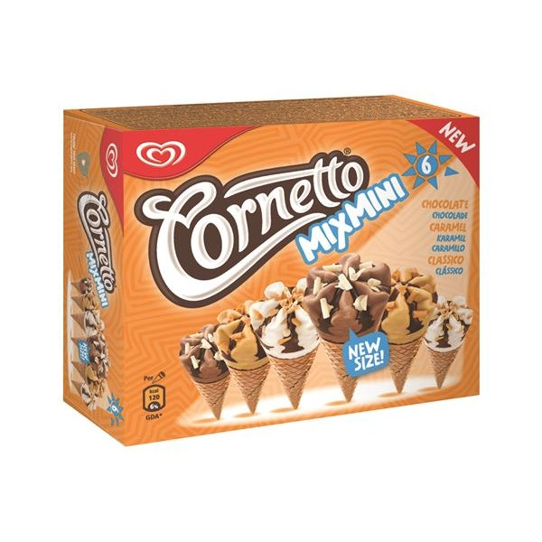 Cornetto cornetto mini mp 6x60ml classic 216g de 60ml. por 6 unidades