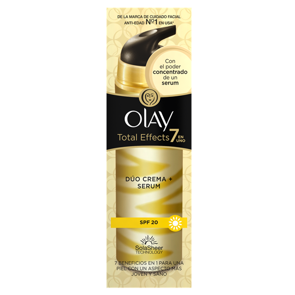 Olay total effects 7 en 1 duo crema serum antiedad fp 20 dosificador de 40ml.