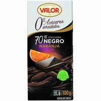 Valor chocolate 70% naranja sin azucar tableta de 100g.
