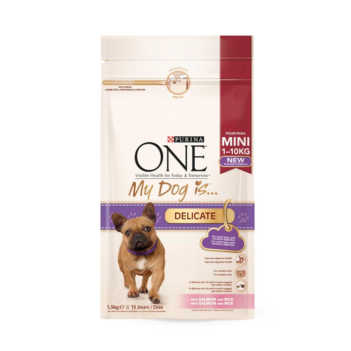 Purina One Mini comida perro my dog is delicate salmon & arroz de 1,5kg.