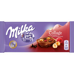 Milka collage chocolate con leche relleno avellanas frambuesas pepitas chocolate negro tableta de 93g.