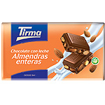 Tirma chocolate con leche almendras enteras tableta de 150g.