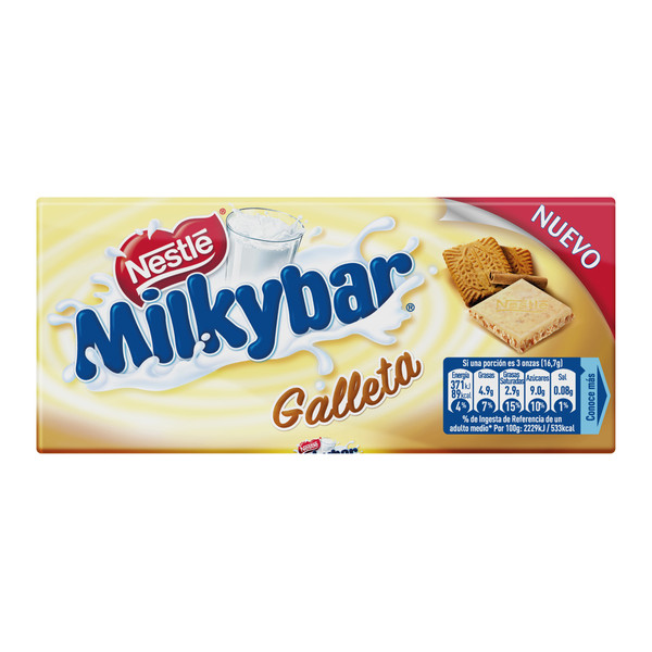 Milkybar chocolate blanco con galleta tableta de 100g.