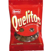 Quely galleta quelitos bañadas en chocolate con leche de 70g.