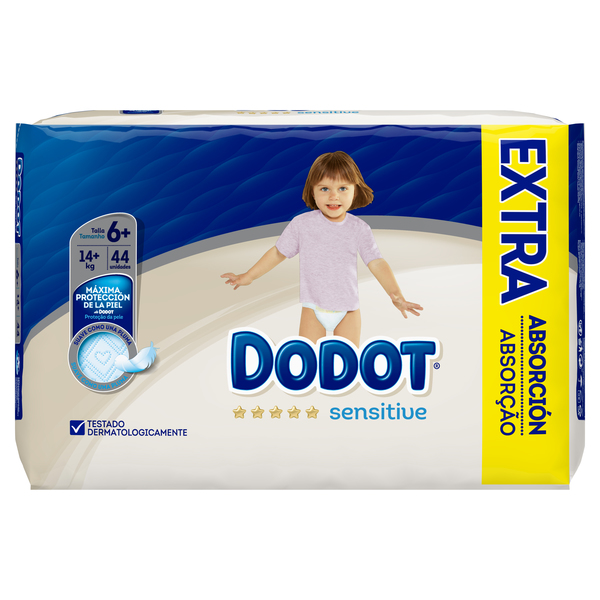 Dodot Sensitive dodot sensitive pañales talla 6+, 44 pañales, 14kg+ 44