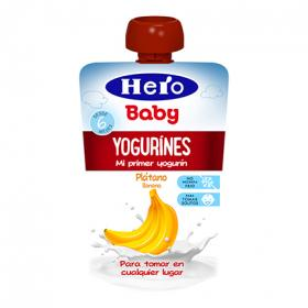 Hero Baby yogurines platano en bolsita de 80g.