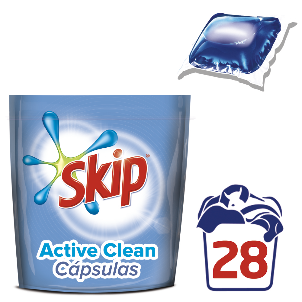 Skip capsulas doble liquido active clean 28 28