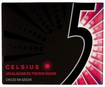 Five chicles sabor frutos rojos sin azucar celsius con minas chicle de 12l. de 29g. en paquete