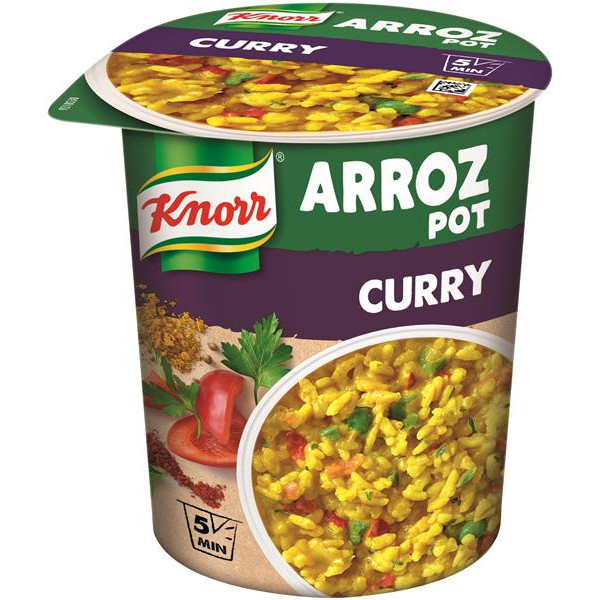 Knorr pot plato preparado arroz al curry [pack 8] de 102g.