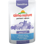 Almo Nature alimento gatos adultos sensitive con pescado envase de 70g.
