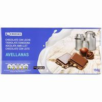 Eroski chocolate con leche avellanas tableta de 150g.