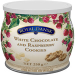 Royal dansk mini galletas cookies frambuesa con chocolate blanco de 250g. en lata