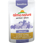 Almo Nature alimento gatos adultos sensitive con pollo corral envase de 70g.