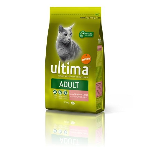 Ultima adult pienso gatos adultos rico en salmon arroz cereales integrales 1-10 de 1,5kg. en bolsa