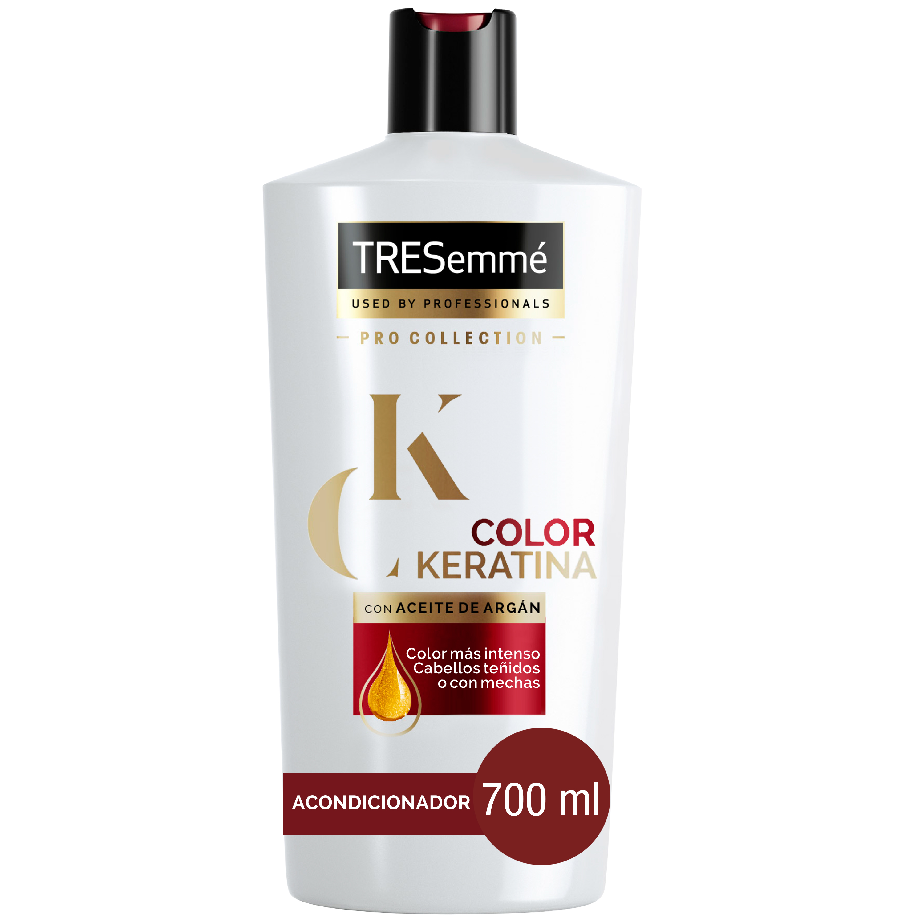 Tresemmé pro collection acondicionador color keratina con aceite argan cabellos teñidos con mechas de 70cl. en botella