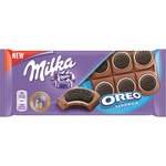 Milka oreo sandwich chocolate con leche galleta oreo tableta de 92g.