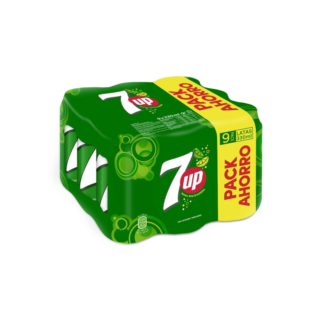 7up lima refresco lima limon de 33cl. por 9 unidades en lata
