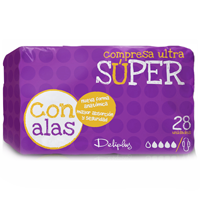 Deliplus compresa absorcion super suave ultra plegada alas 28