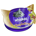 Whiskas temptations snacks gato pollo queso envase de 60g.