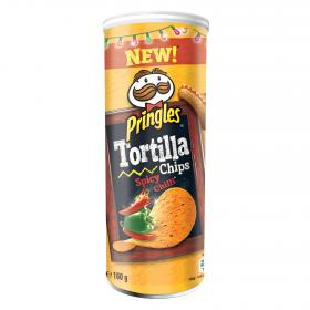 Pringles tortilla chips spicy chilli de 160g.