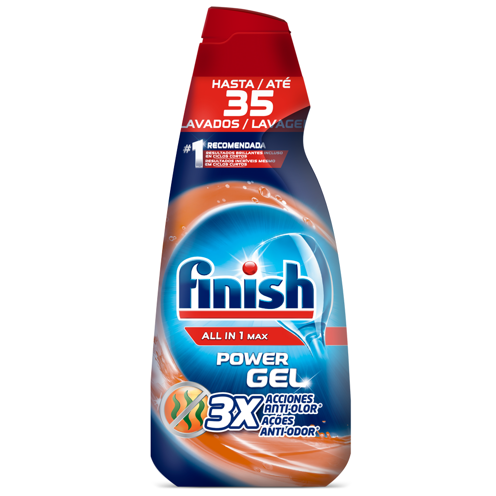 Finish detergente lavavajillas power gel todo en 1 frescor antiolor 35 en botella