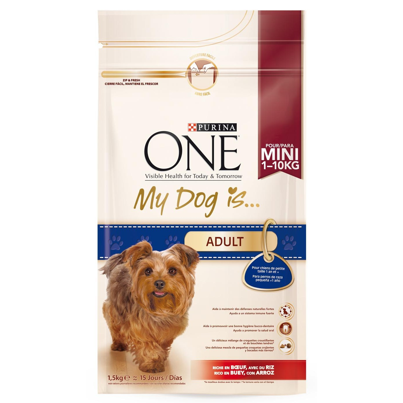 Purina One Mini one my dog is adult mezcla croquetas crujientes bocados tiernos rico en buey arroz perros mini de 1,5kg. en bolsa