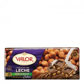 Valor chocolate con leche avellanas de 250g.