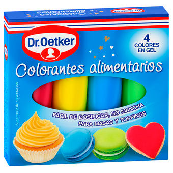 Dr Oetker colorantes alimentarios 4 colores en gel masas toppings estuche de 40g.
