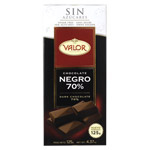 Valor chocolate negro 70% sin azucar tableta de 125g.