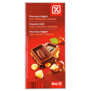 Dia chocolate negro 55% con avellanas tableta de 200g.