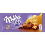 Milka collage chocolate con leche relleno caramelo galleta chocolate negro tableta de 93g.