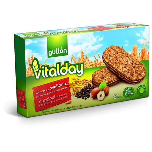 Gullón Vitalday galletas sandwich avellana con avena chips chocolate de 220g.