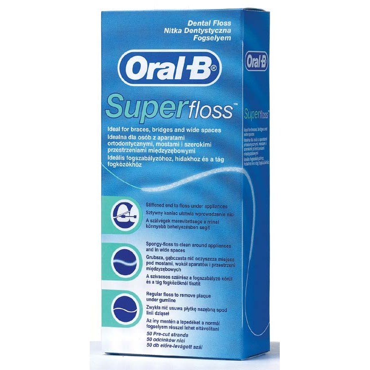 Oral B seda dental super floss de 50m.