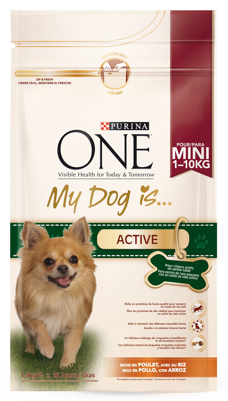Purina One Mini one my dog is active mezcla croquetas crujientes bocados tiernos rico en pollo arroz perros mini de 1,5kg. en bolsa