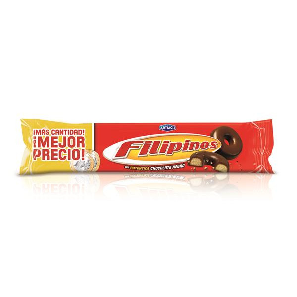 Filipinos roscos galleta con chocolate negro de 185g. en paquete