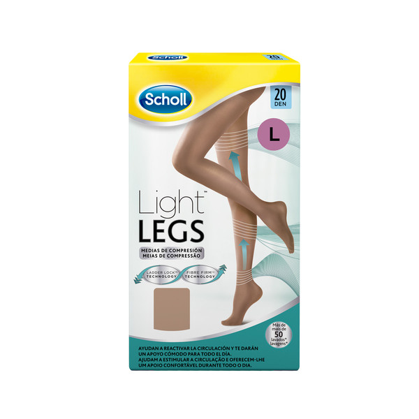 Scholl medias compresion 20 den talla large color carne light legs