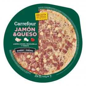 Carrefour pizza fresca jamon queso de 400g.