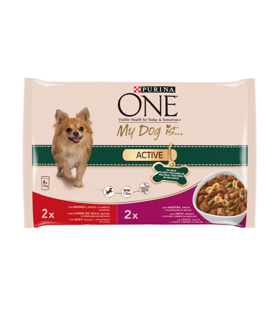 Purina One Mini my dog is active seleccion carnes perros 1-10 de 100g. por 4 unidades en bolsa