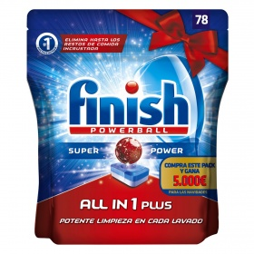 Finish detergente lavavajillas super power todo en 1 plus 78 en pastilla