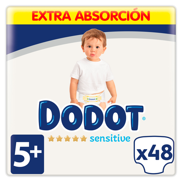 Dodot Sensitive dodot sensitive pañales talla 5+, 48 pañales, 12-17kg 48
