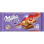 Milka chocolate con leche galleta lu tableta de 100g.