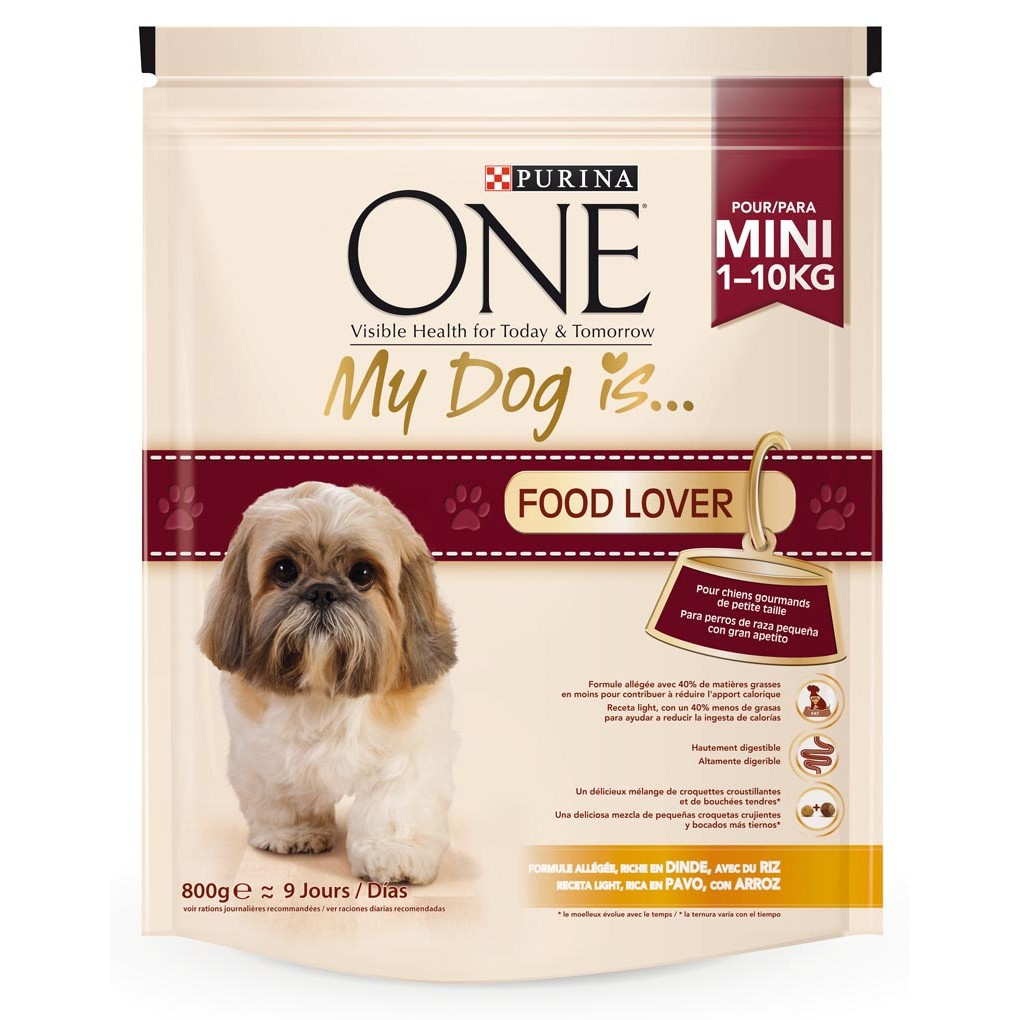 Purina One Mini my dog is food lover mezcla croquetas crujientes bocados tiernos rico en pavo arroz perros mini de 800g. en bolsa