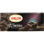 Valor chocolate negro 82% sin gluten tableta de 170g.