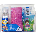 Fq plus kit escolar niño con gel champú infantil + colonia infantil + cepillo + toalla + vaso de 15cl. en spray