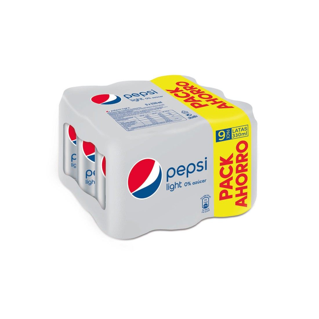 Pepsi light de 33cl. por 9 unidades en lata