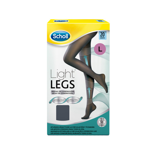 Scholl medias compresion 20 den talla large color negro light legs