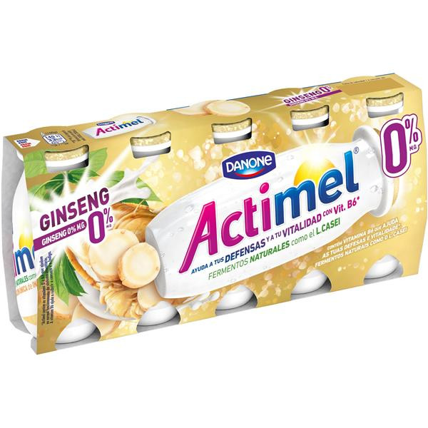Actimel con ginseng 0% danone 5 ud
