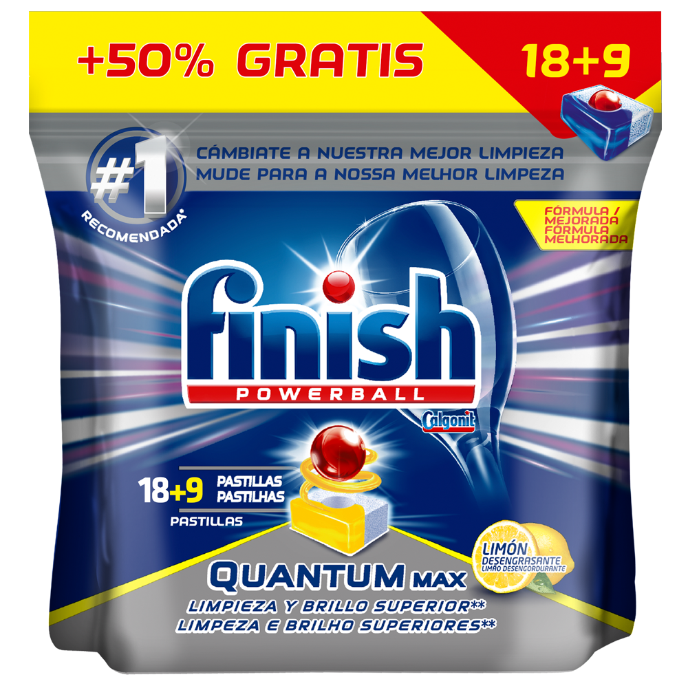 Finish detergente lavavajillas super power quantum limon 18 en pastilla