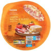 Eroski pizza jamon bacon queso 1 unid de 390g.
