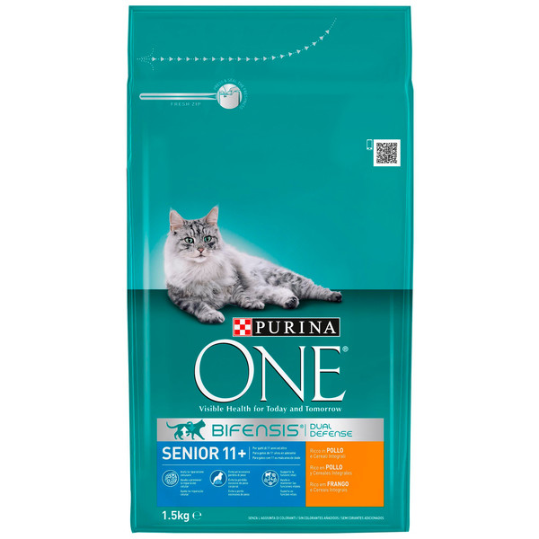 Purina One gato senior 11 rico en pollo cereales integrales de 1,5kg.